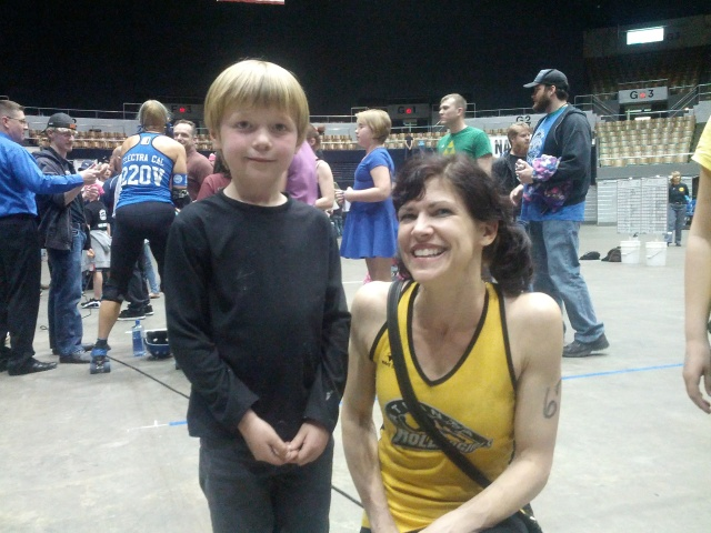 Will with an Atlanta Rumble Bee.  he would have gotten a pic with a Nashville Roller Girl but his 2nd fav colr is yellow